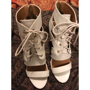 White Lace Up Wedges